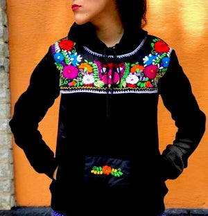 Azucena, Mexican Embroidered Flowers Hoodie