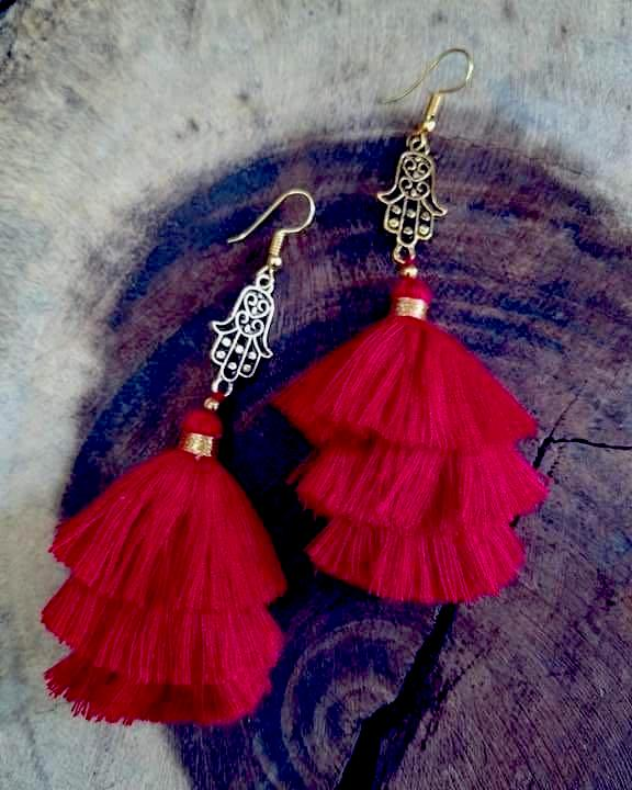 'La mano de Fátima' Red  Mexican Earrings