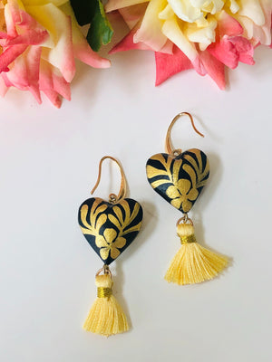 'Corazon Mexicano' Golden Mexican Earrings