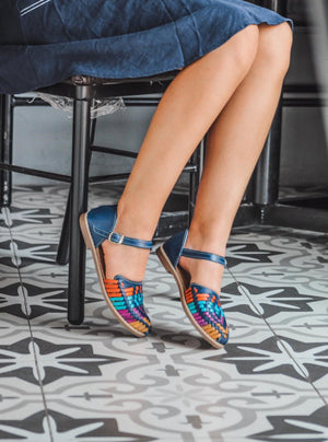 Mexican leather huaraches La bailarina Multi-Colored, Ankle-Strap Flat