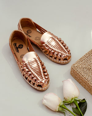 Mexican leather huaraches Camila  metallic pink