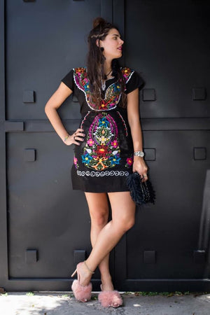 Las Flores Mexican Embroidered Dress