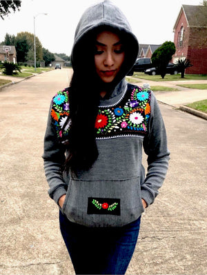 'Gray Azucena'  Mexican Embroidered Flowers Hoodie