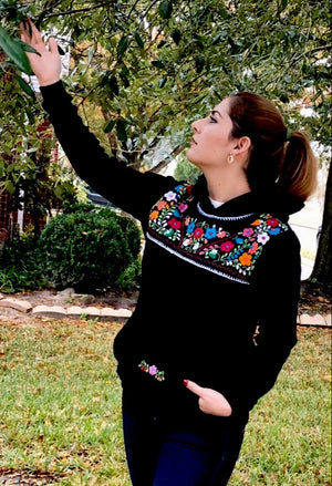 'Azucena' Mexican Embroidered Flowers Hoodie