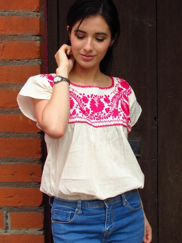 Mexican embroidered Pink blouse