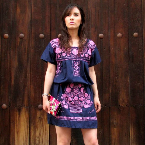 Las Poblanas Azucena, Mexican Embroidered Dress