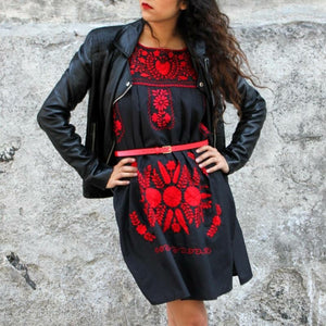 Las Poblanas El Rojo, Mexican Embroidered Dress