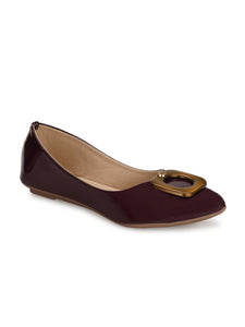 Wine Embellished Patent Leather Bellies