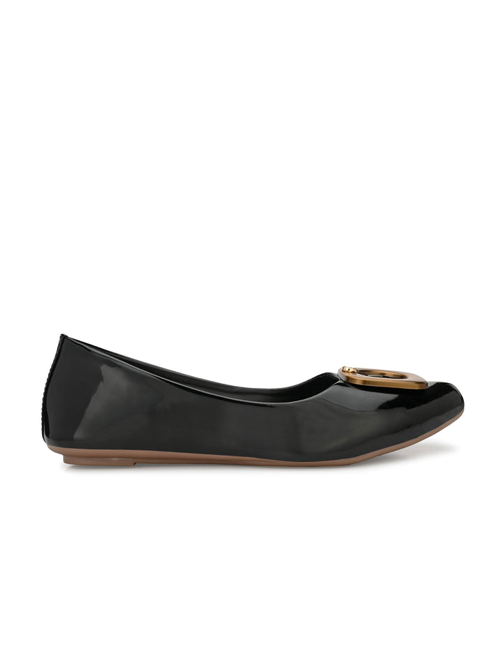 Black Embellished Patent Leather Bellies