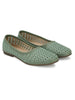 Green Stylish Self Stitched Slip-Ons