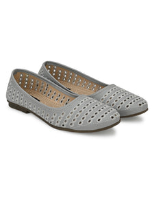 Grey Stylish Self Stitched Slip-Ons