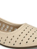 Cream Stylish Self Stitched Slip-Ons