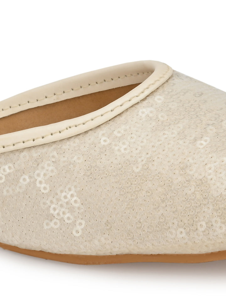 Cream Sequins Embellished Juttis