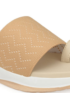 Beige Mesh Net Grip Ring Half Wedges