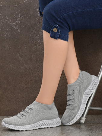 Grey Imported Mesh Lycra Running Sneakers
