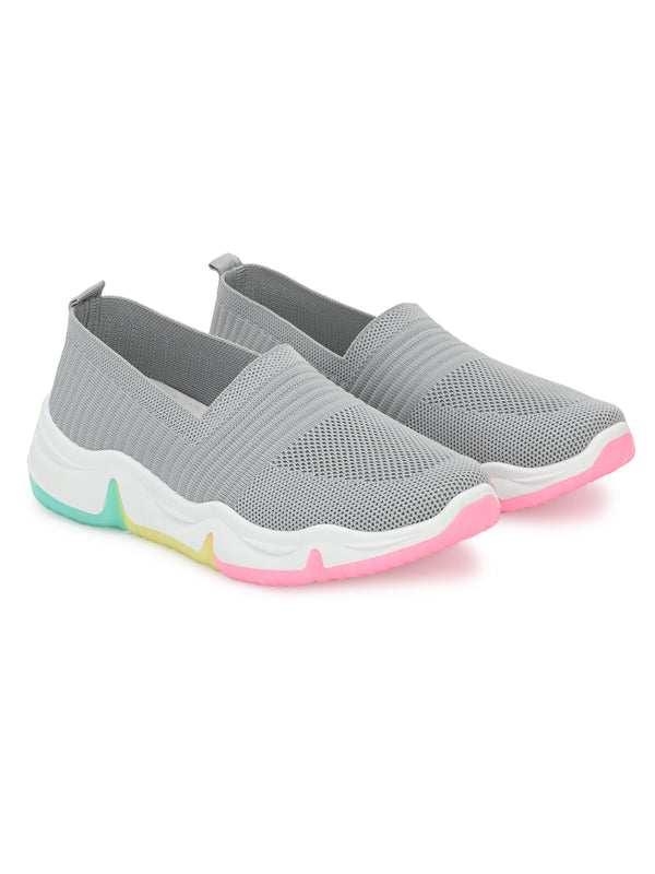 Grey Colourful Mesh Lycra Running Sneakers