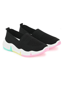 Black Colourful Mesh Lycra Running Sneakers