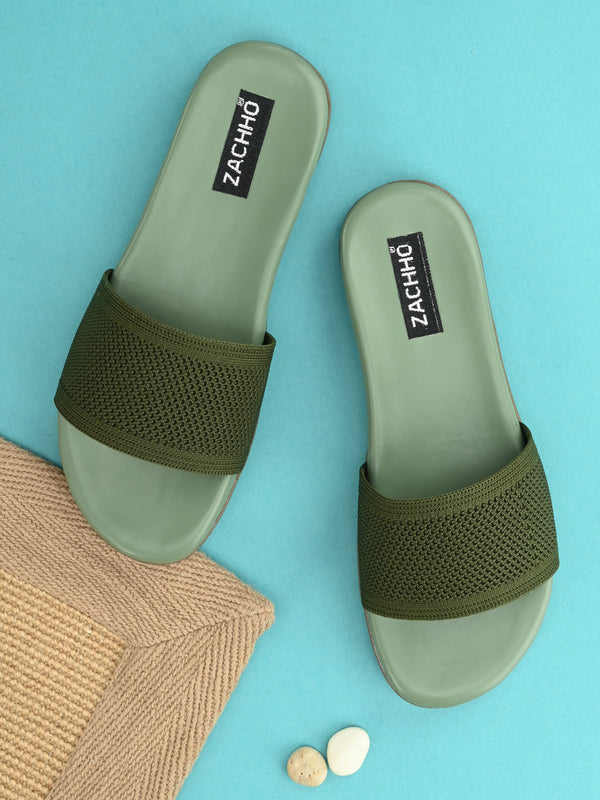 Green Super Comfortable Matty Slides
