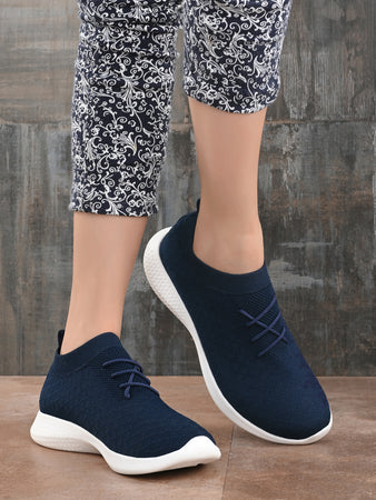 Blue Knitted Running Sneakers