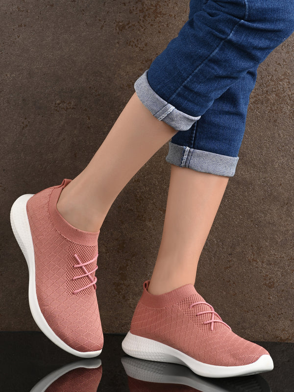 Pink Knitted Running Sneakers