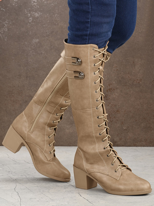 Beige Knee Length PU Block Heel Long Boots