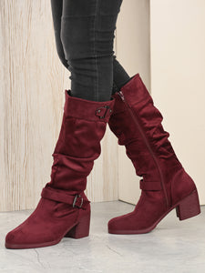 Maroon Calf Length Block Heel PU Long Boots