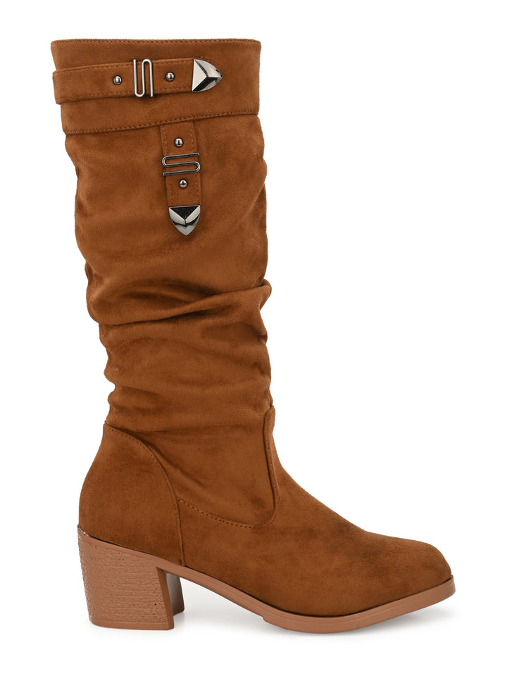 Tan Calf Length Block Heel PU Long Boots