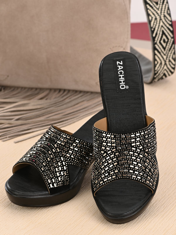 Black Criss-Cross Peep Toe Block Heel Mules | Zachho