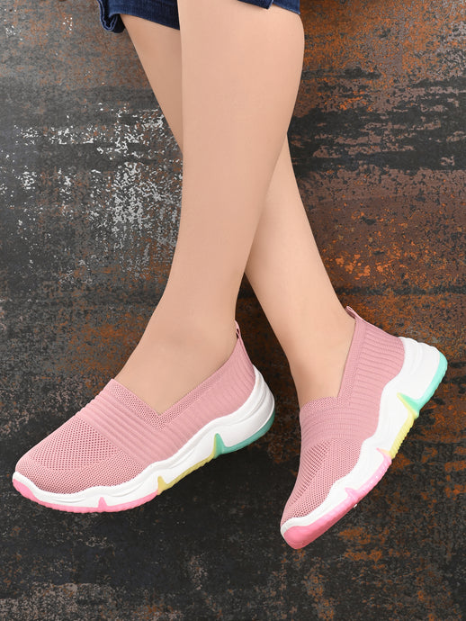 Pink Colourful Mesh Lycra Running Sneakers