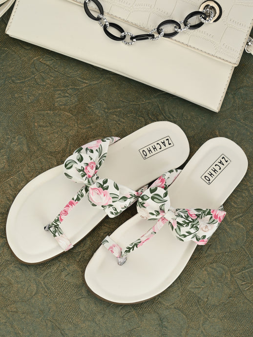 Floral White Bow Flats | Zachho