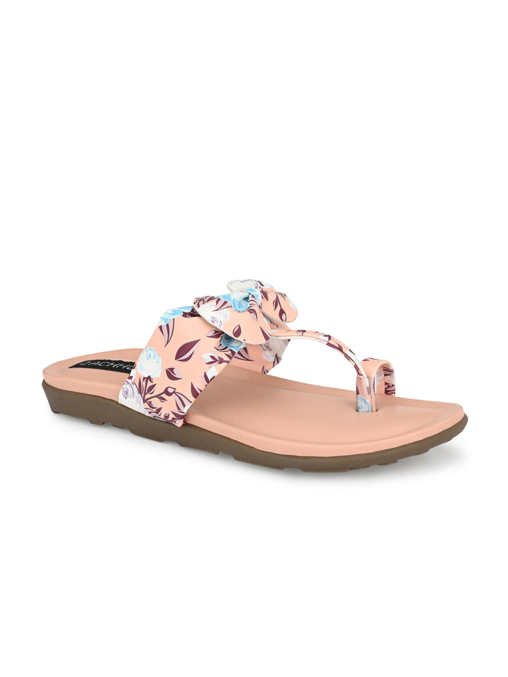 Floral Pink Bow Flats | Zachho