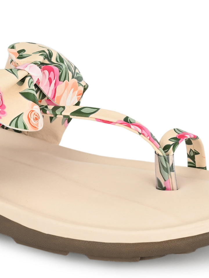 Floral Beige Bow Flats | Zachho