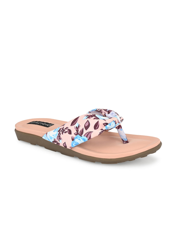 Pink Knotted Casual Flats | Zachho