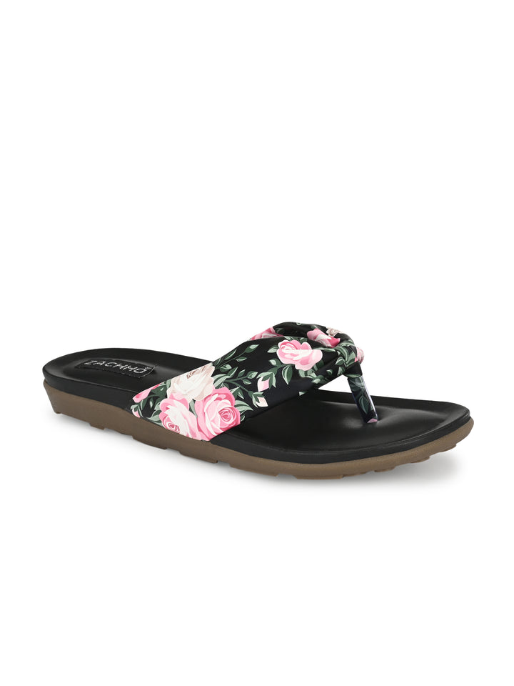 Black Knotted Casual Flats | Zachho