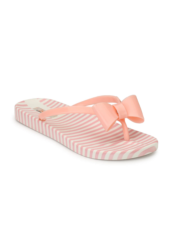 flowery-knot striped walk flat - Zachho