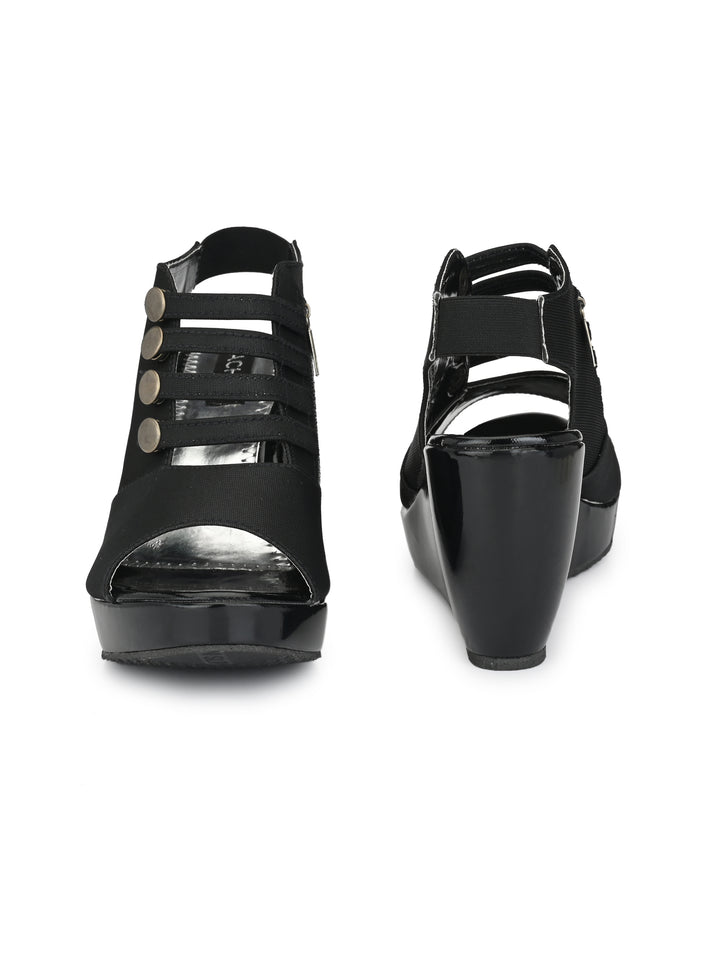 unique button-lock peep-toe casuals - Zachho