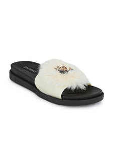 fur & swan buckle embellished slides - Zachho