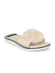 fur & buckle embellished slides - Zachho