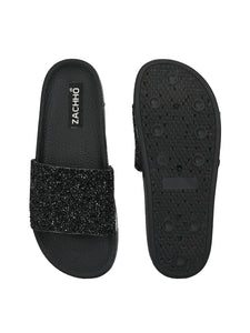 shiny patch embellished slides - Zachho