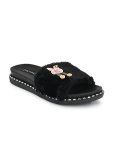 cute fur embellished slides - Zachho