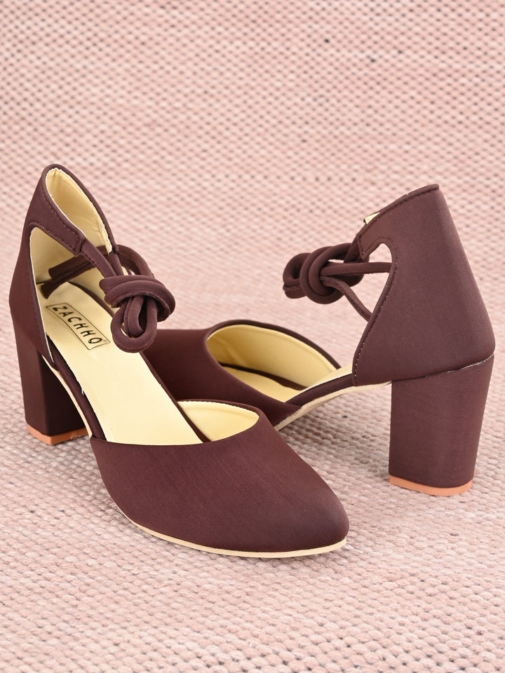 super-active ankle knot block heels - Zachho
