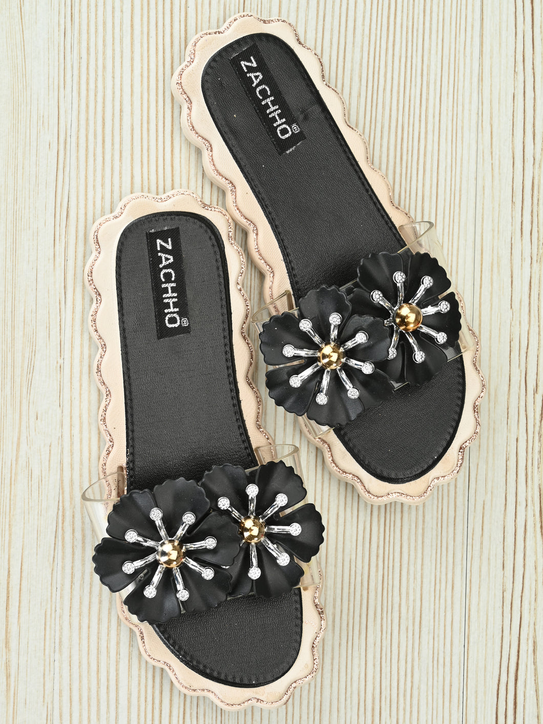 beautiful flower embellished slides - Zachho