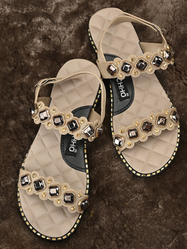 stylish stones embellished sandals - Zachho