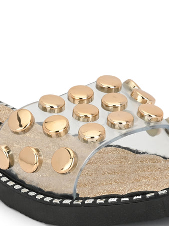 gold buttons embellished transparent slides - Zachho