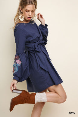 Navy Embroidered Wrap Dress
