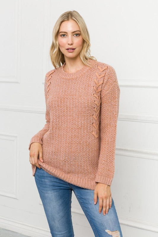 Ribbon Detail Tunic Sweater