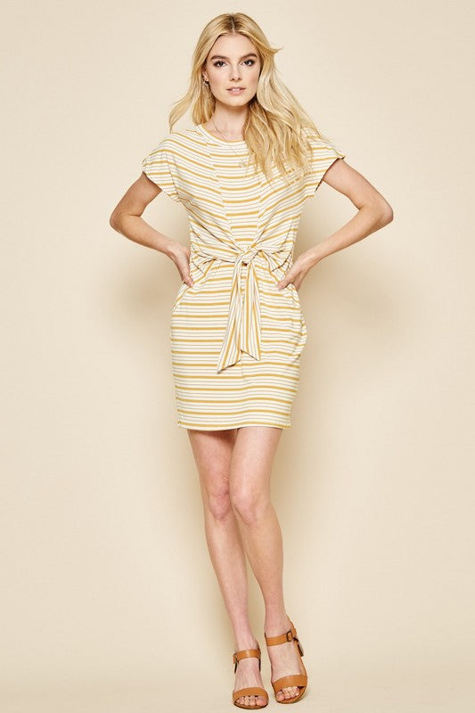 Mustard Stripe Knot Dress