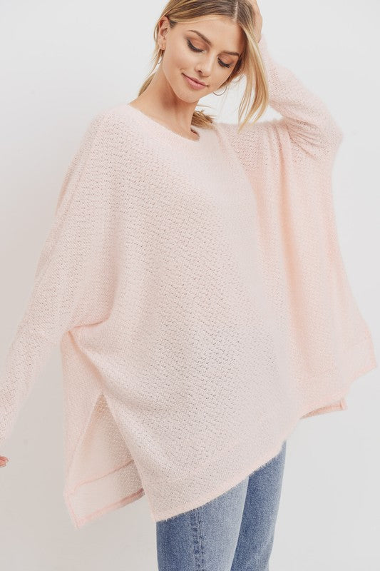 Brushed Pink Poncho Top