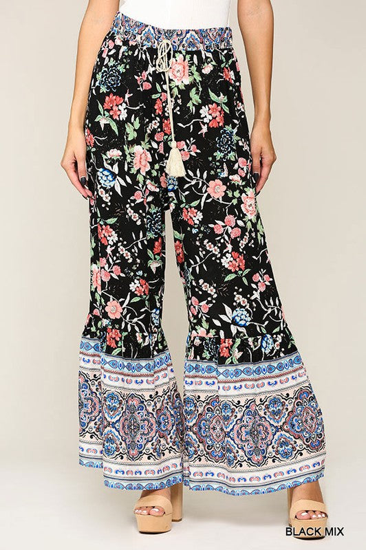 Floral Bell Flare Pants