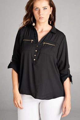 *CURVY* Black Zippered Blouse